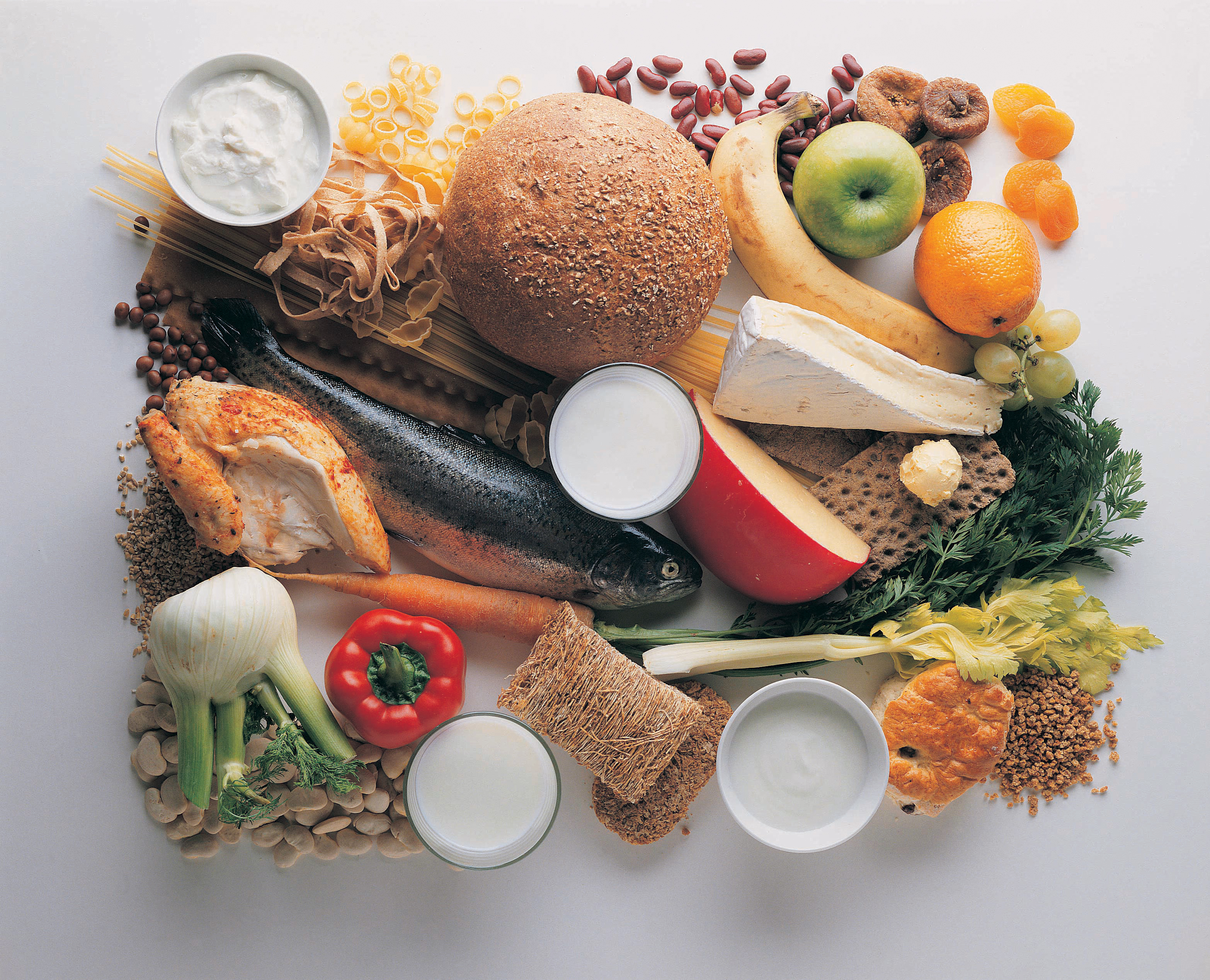 Healthy Eating - Grains, Fish, Chicken, Fruit, Vegetables, Beans and Cheeses